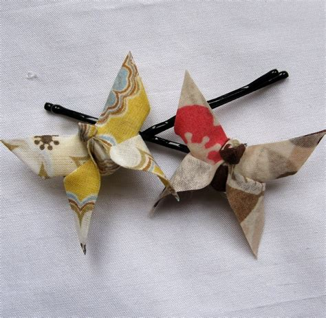 Cloth Origami - pair of fabric origami butterfly hair grips pink and by bymi