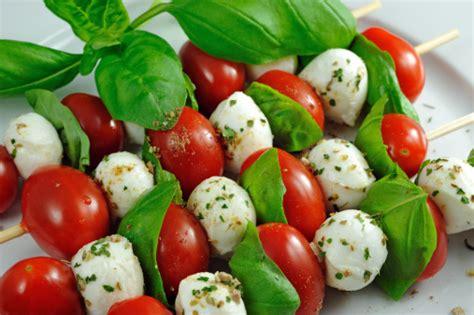 mozzarella basil and tomato skewers recipe dishmaps