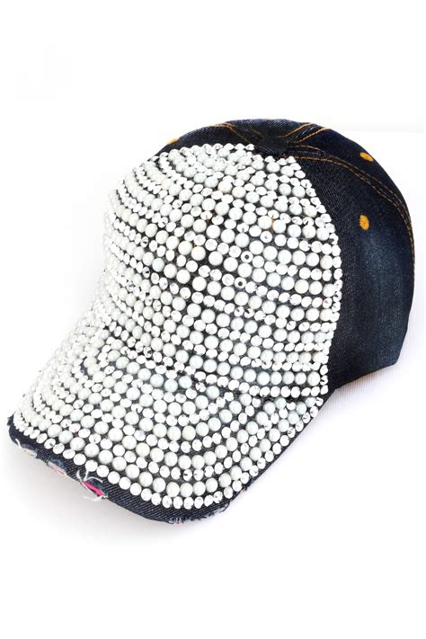 Studded Hat rhinestone and pearl studded hat hats