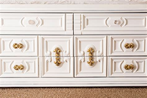 White Dresser With Gold Trim by Maintenance Mode