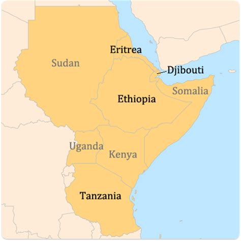 East African Countries Map