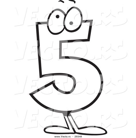 cartoon numbers coloring pages vector of cartoon number five character coloring page