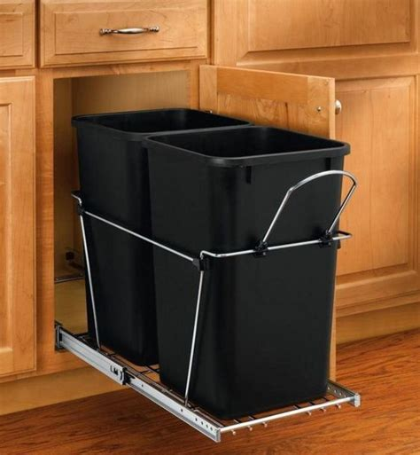 kitchen garbage cabinet new 27 qt under cabinet pull out trash can 2 bin waste