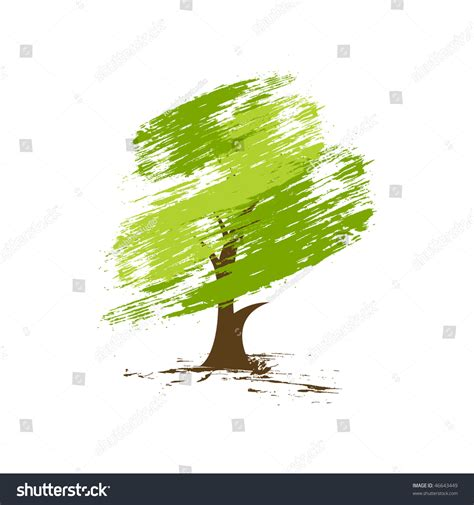 Hand Draw Vector Green Tree On Stock Vector 46643449 Shutterstock Green Eco Tree Vector Free