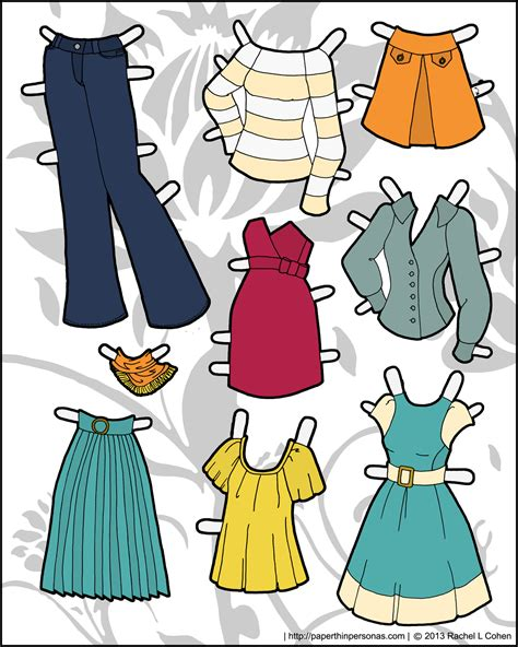 Printable Paper Doll Dresses | clothes paper thin personas