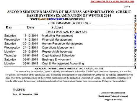Rtmnu Mba Fees mba semester 2 time table winter 2014 rtmnu