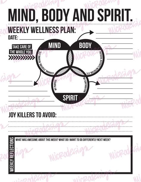 mind spirit weekly wellness plan downloadable goal