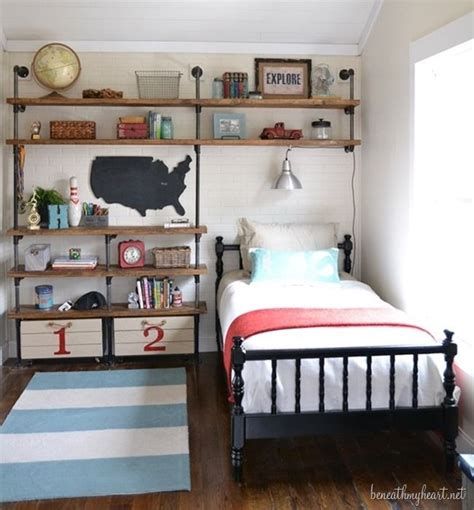 small bedroom ideas for boys industrial shelves for a boy s room industrial boys