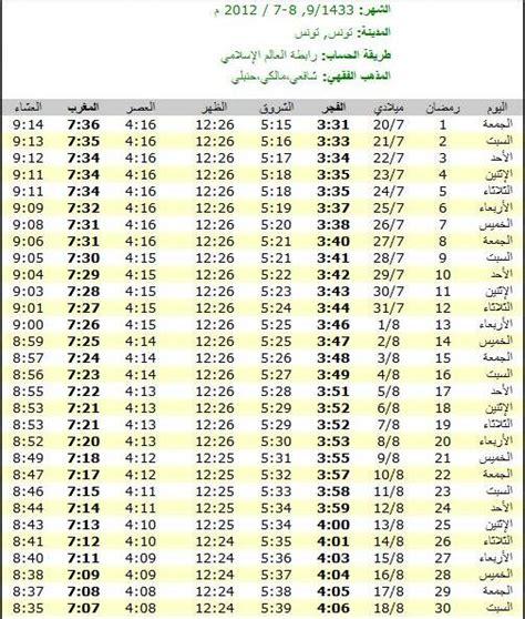 Calendrier Tunisie Tunisie Calendrier Du Mois De Ramadan De L 233 E 1433