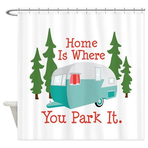 home is where you park it shower curtain by hopscotch2