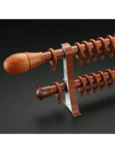 custom length curtain rods qyt2921 1 1 8 quot wood grain double curtain rod set egg