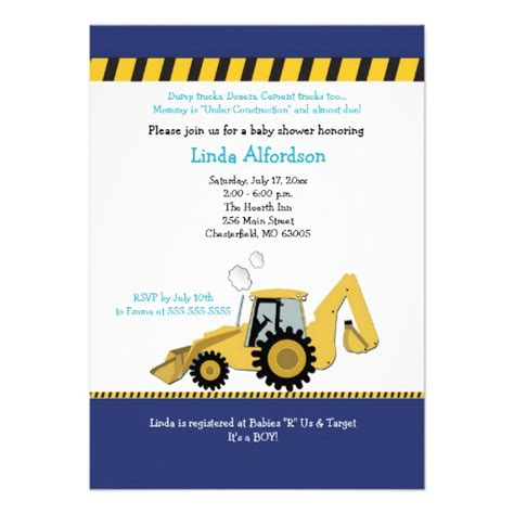 Construction Baby Shower Invitations construction backhoe baby shower invitation zazzle
