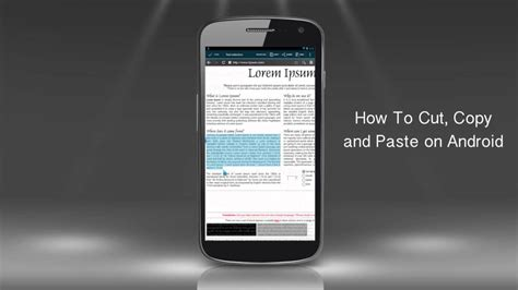 cut copy  paste text  android phone youtube