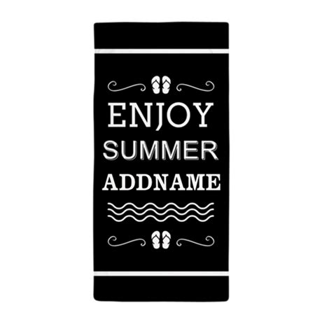 black and white enjoy summer personali towel by