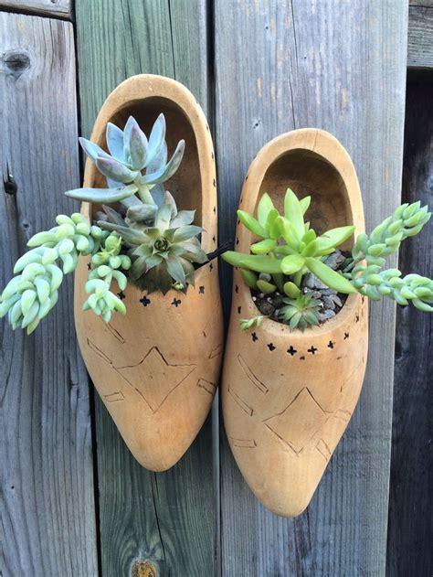 Wooden Shoes Succulent Planters Beauty Contained Wooden Succulent Planter