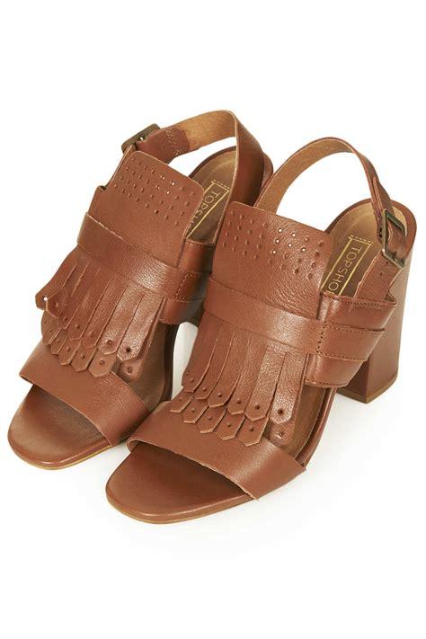 fringe sandals lyst topshop rescue fringe sandals in brown