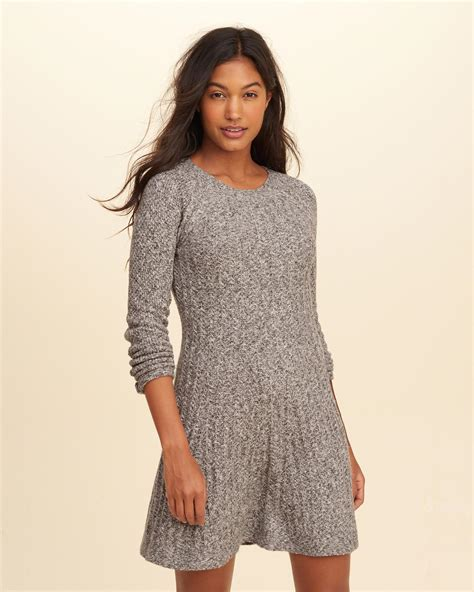 Hollister Skater Sweater Dress in Gray   Lyst Hollister Sweaters For Girls Grey