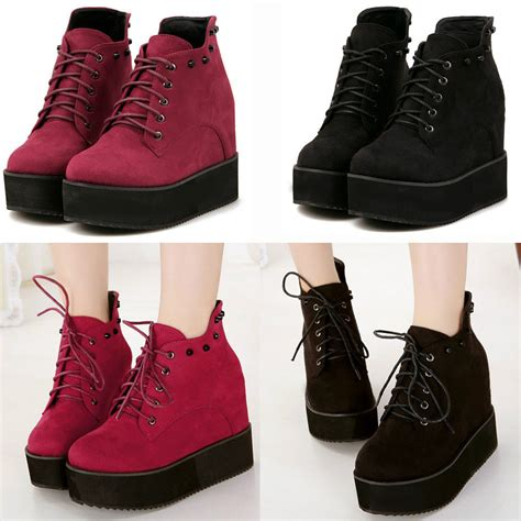 platform sneaker heels high top fashion sneakers platform shoes lace up