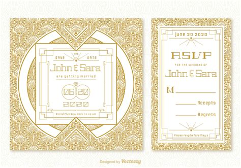 Classic Wedding Card Template by Vintage Deco Wedding Card Vector Templates