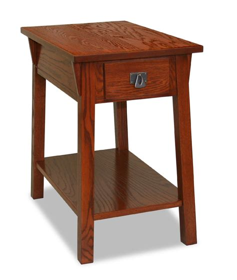Leick Bin Pull Narrow Chairside End Table Candleglow Narrow Side Table For Living Room