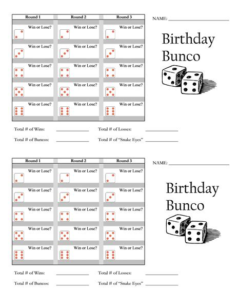 Bunco Scorecard Printable