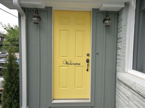 Grey House Yellow Door by Welcome Looooooove Someday Home