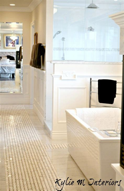 master bathroom  basketweave marble tile floor cloud
