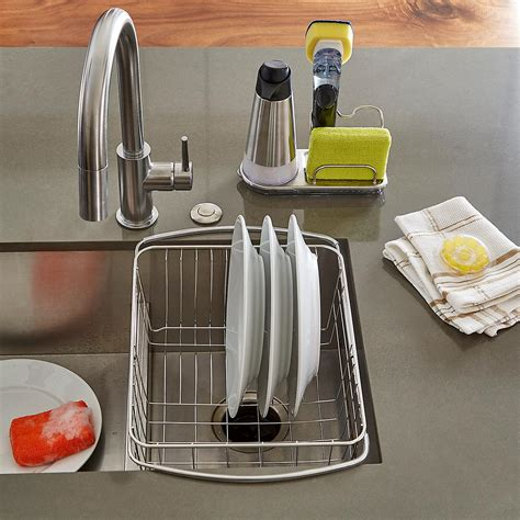 kitchen sink organiser oxo stainless steel sink organizer the container store