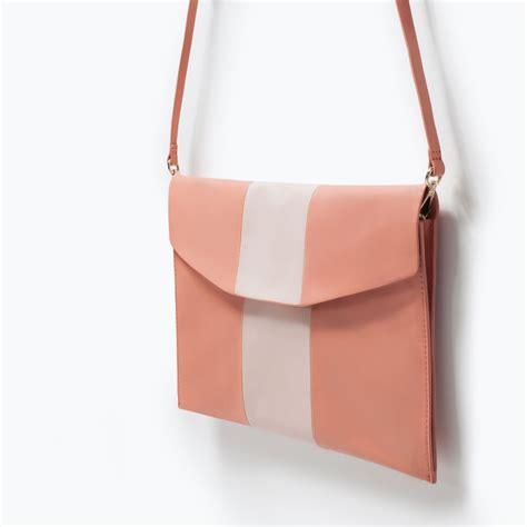 Zara Clucth Murah Pink zara combined clutch bag in pink lyst