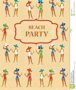 Cocktail Party Invitation Ideas - beach party funny invitation cartoon vintage stock