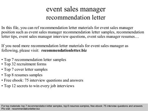 Sle Of A Letter For An Event Event Sales Manager Recommendation Letter