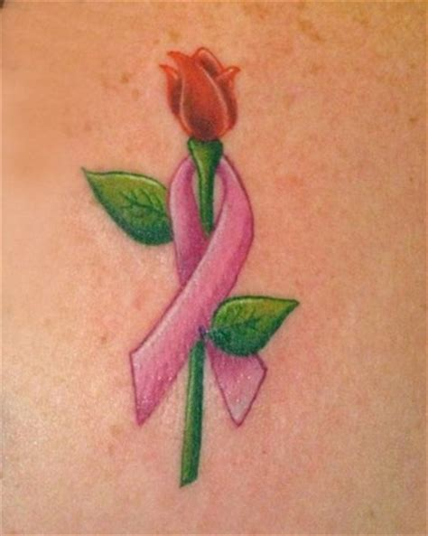 rose tattoo with breast cancer ribbon breast cancer survivor tattoos on breast