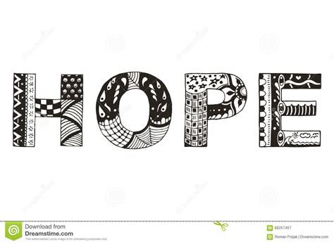 pattern of the words word hope zentangle stylized vector illustration
