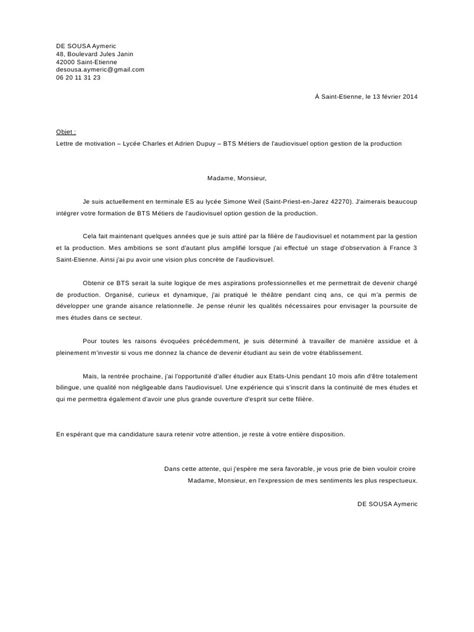 Demande De Bts Lettre De Motivation Exemple Lettre De Motivation Stage Bts Nrc Document