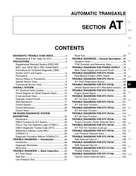 automotive repair manual 2001 nissan altima electronic throttle control 2001 nissan altima automatic transmission section at pdf manual 310 pages