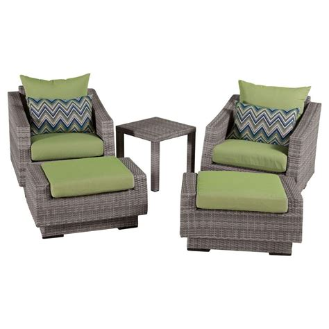 Patio Chair And Ottoman Rst Brands Cannes 5 Patio Club Chair And Ottoman Set With Ginkgo Green Cushions Op Peclb5