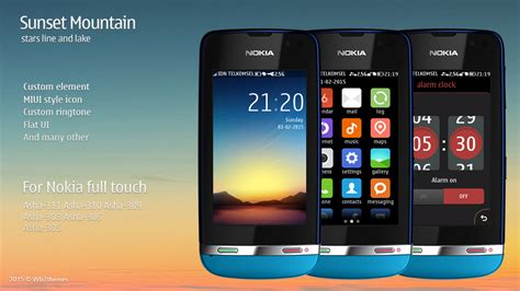 themes of nokia asha 311 sunset mountain theme asha 311 310 309 308 306 305