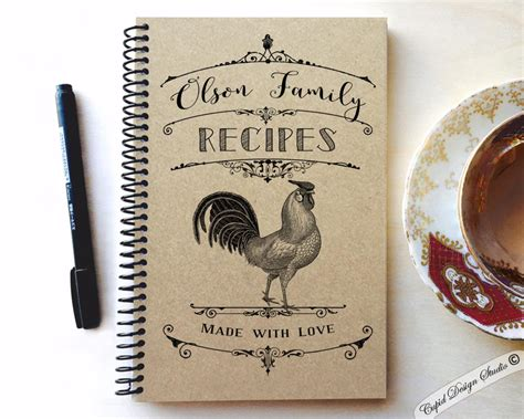 personalized recipe book  kraft cover cupid design