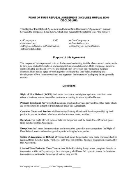 17 Best Legal Document Sles Images On Pinterest Sle Resume Avocado And Lawyer Right Of Refusal Template Real Estate