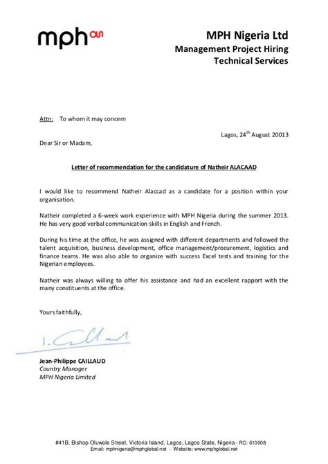Recommendation Letter Format From Hod recommendation letter natheir alaccad