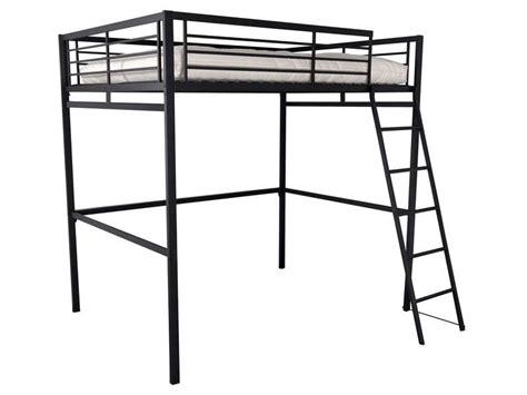 lit 1 place adulte lit mezzanine 140x190 cm 2 coloris noir vente de