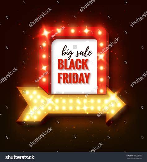 black friday light sale black friday sale retro light frame stock vector 495238195