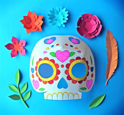 day of the dead mask template day of the dead ideas color in calavera masks activity