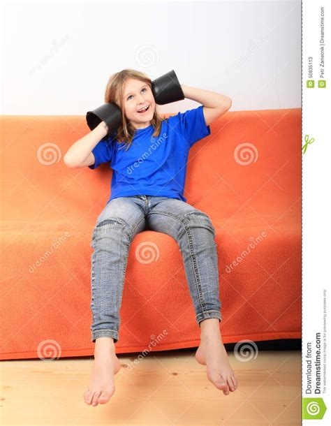 little kid couch funny girl stock photo image 50835113