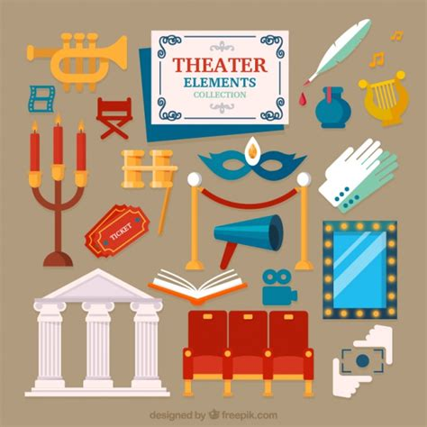 design elements in theatre set of theater elements in flat design vector free download