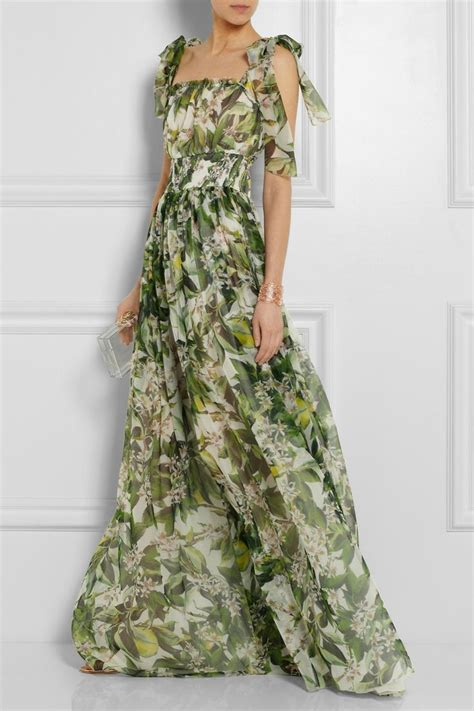 Drss 962 Flowy Roses Maxidress dolce gabbana floral print silk chiffon gown style