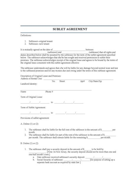 sublet agreement new jersey sublease agreement form for free