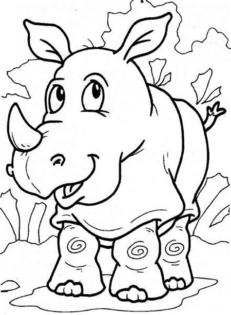 rhino coloring pages to kids