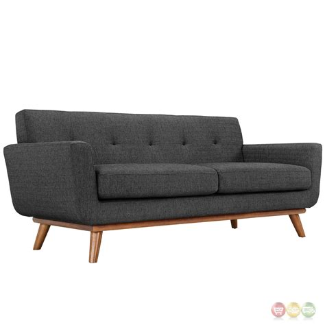 Engage Modern 2pc Upholstered Button Tufted Loveseat And Sofa And Loveseat