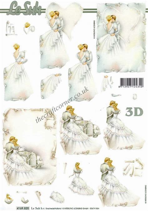 wedding decoupage and groom wedding 3d decoupage sheet